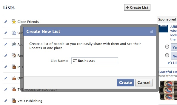 To create a Business List on Facebook, type name of list in field