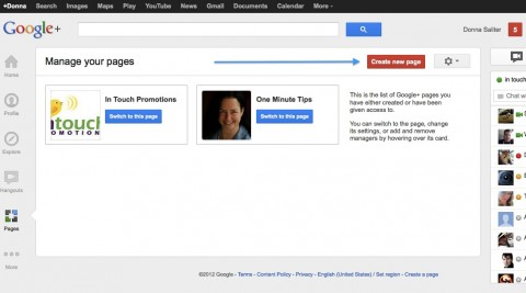 Create a new Google+ page icon is in the upper right corner