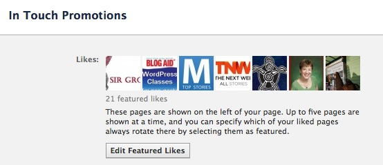 Facebook Business Page Featured Likes are listed in your Edit Page page