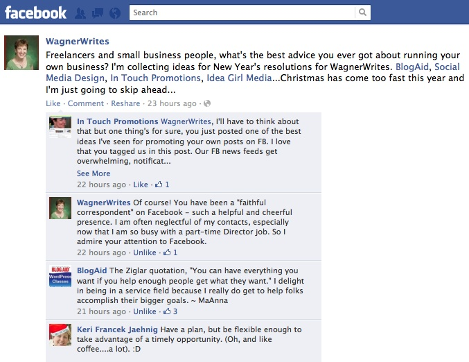 Tag FB biz pages in your post and get lots of comments