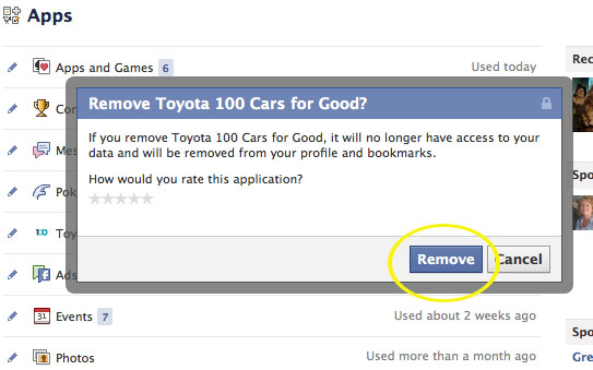 You will be asked to confirm that you want to remove the unwanted app from your Facebook profile