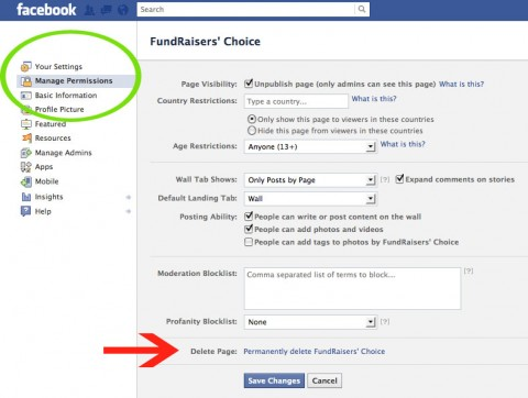 To delete Facebook business pages you next hit Manage Permission - Delete Page