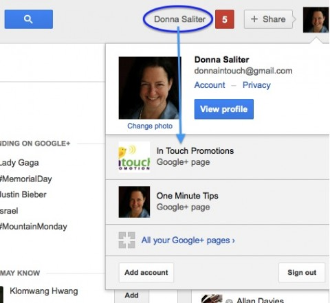 Once you create a Google+ business page you can switch from one G+ account to another